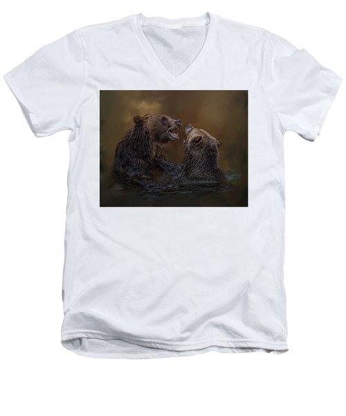 Grizzlies At Play Men's V-Neck T-Shirt