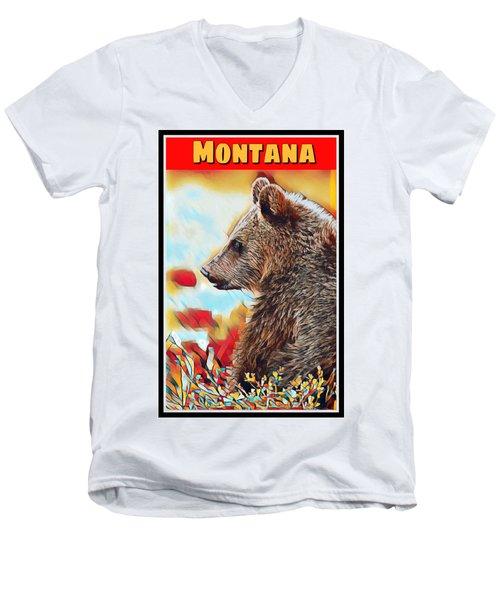 Grizzly Bear Art Montana Wildlife Travel Poster Men's V-Neck T-Shirt