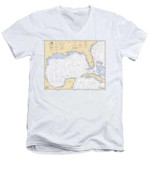 Gulf Of Mexico, Noaa Chart 411 Men's V-Neck T-Shirt