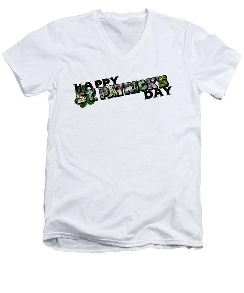 Happy St. Patrick's Day Big Letter Men's V-Neck T-Shirt