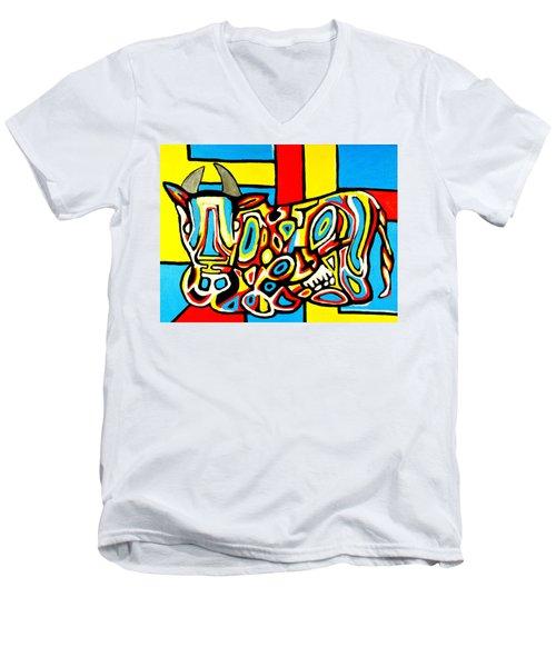 Haring's Cow Men's V-Neck T-Shirt