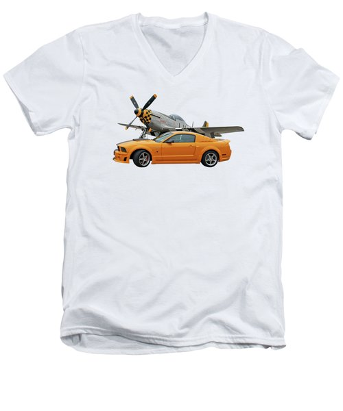 High Flyers - Mustang And P51 Men's V-Neck T-Shirt