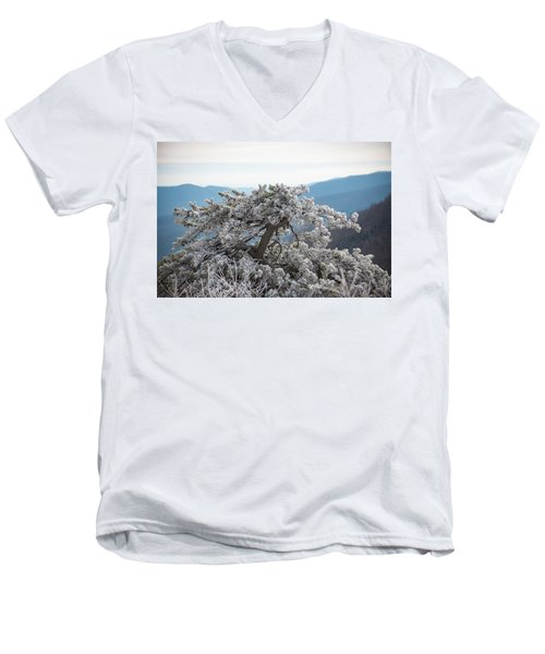 Hoarfrost In The Blue Ridge Mountains Men's V-Neck T-Shirt