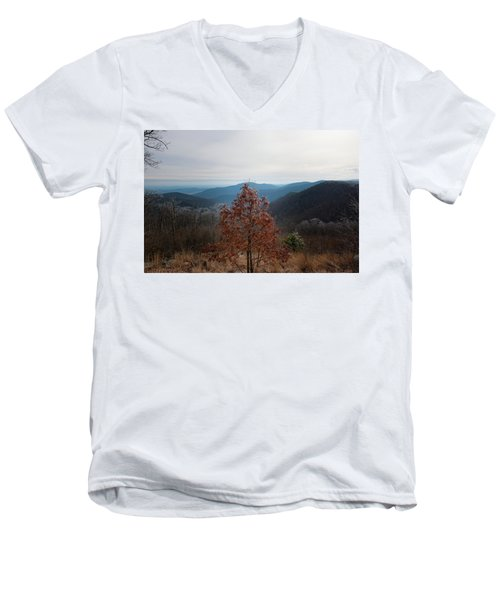 Hoarfrost On Fall Leaves Men's V-Neck T-Shirt