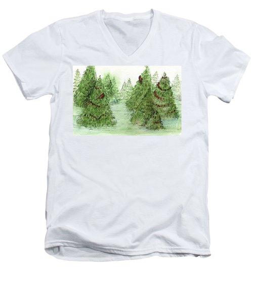 Holiday Trees Woodland Landscape Illustration Men's V-Neck T-Shirt