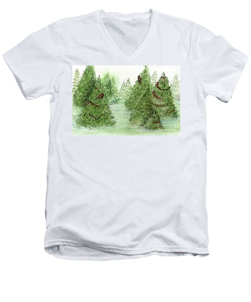 Holiday Trees Woodland Landscape Illustration Men's V-Neck T-Shirt