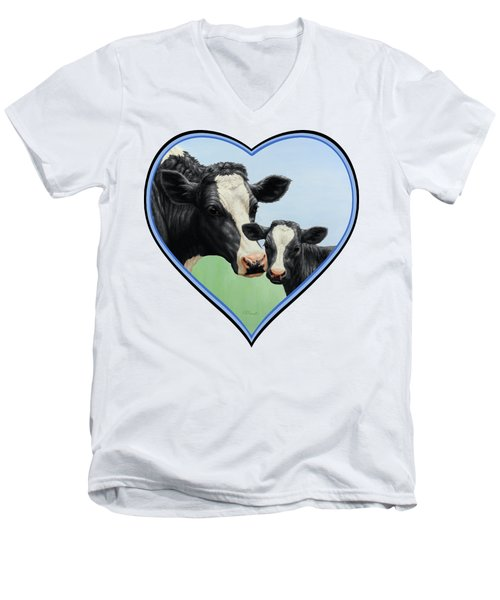 Holstein Cow And Calf Men's V-Neck T-Shirt