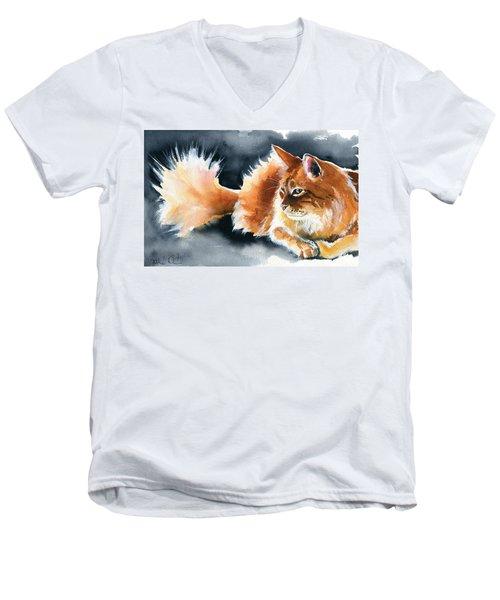 Holy Ginger Fluff - Cat Painting Men's V-Neck T-Shirt