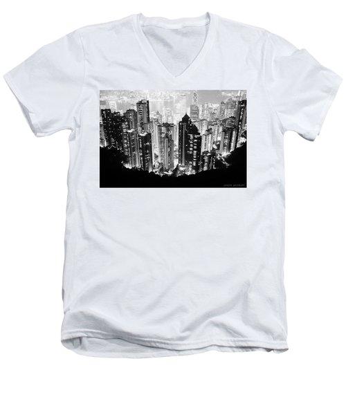 Hong Kong Nightscape Men's V-Neck T-Shirt