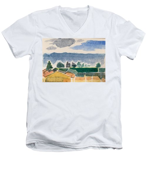 Houses, Trees, Mountains, Clouds Men's V-Neck T-Shirt