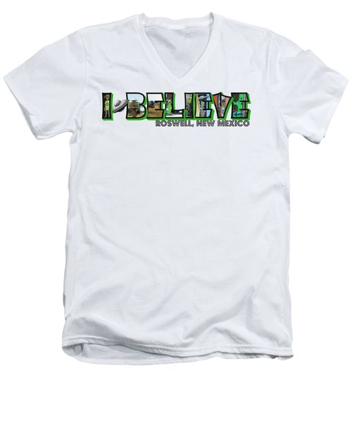 I Believe Roswell New Mexico Big Letter Men's V-Neck T-Shirt