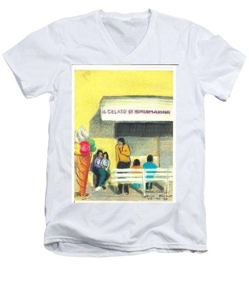 Il Gelato De Borgo Marina Men's V-Neck T-Shirt