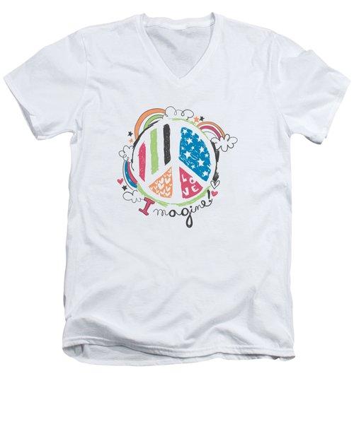 Imagine Love And Peace - Baby Room Nursery Art Poster Print Men's V-Neck T-Shirt