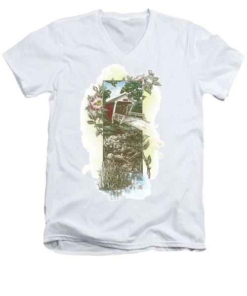 Iowa Covered Bridge Men's V-Neck T-Shirt