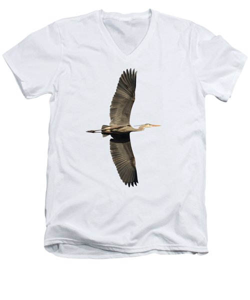 Isolated Great Blue Heron 2018-1 Men's V-Neck T-Shirt