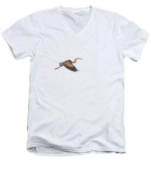 Isolated Great Blue Heron 2019-1 Men's V-Neck T-Shirt