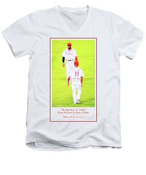 J Roll And The Big Piece, Ryan And Rollins, Phillies Greats Men's V-Neck T-Shirt