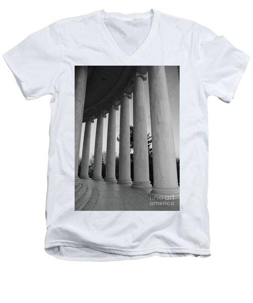 Jefferson Memorial In Black And White Men's V-Neck T-Shirt