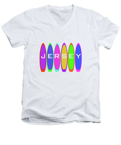 Jersey Text On Surfboards Men's V-Neck T-Shirt