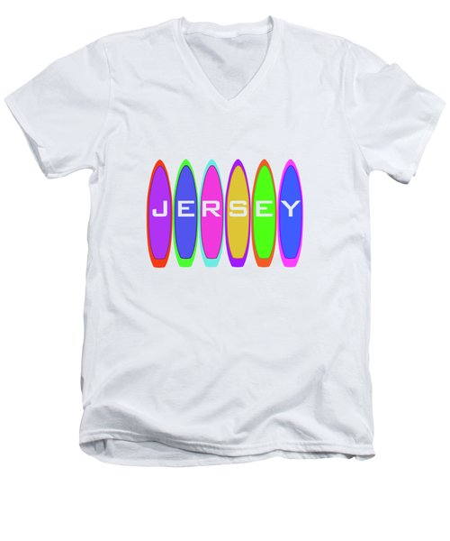 Jersey Text On Surfboards Men's V-Neck T-Shirt
