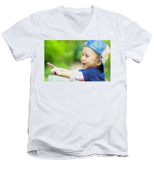 Men's V-Neck T-Shirt featuring the painting Joeseph by Harry Warrick