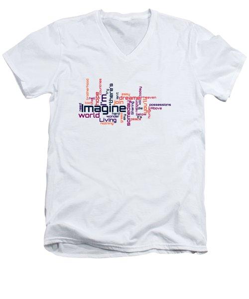 John Lennon - Imagine Lyrical Cloud Men's V-Neck T-Shirt