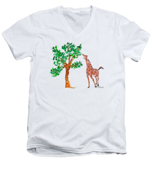 Jungle Giraffe Reach Men's V-Neck T-Shirt