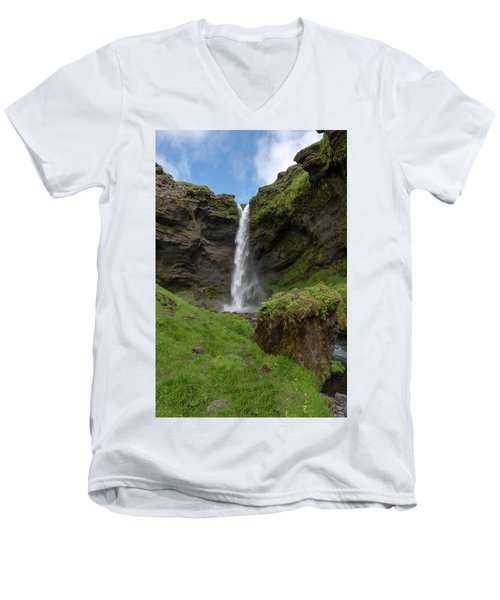 Men's V-Neck T-Shirt featuring the photograph Kvernufoss Waterfall Iceland 7011901 by Rick Veldman