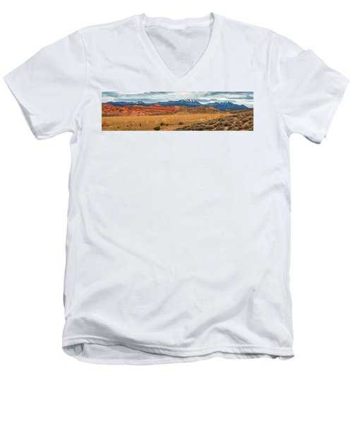 Men's V-Neck T-Shirt featuring the photograph La Sal Mountains by Andy Crawford