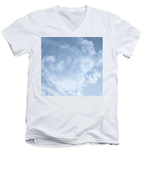 Men's V-Neck T-Shirt featuring the photograph Lace Agate Sky by Judy Kennedy