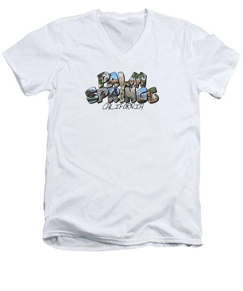 Large Letter Palm Springs California Men's V-Neck T-Shirt