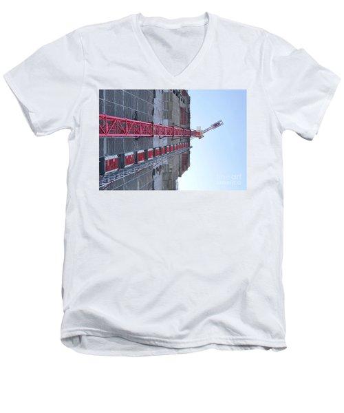 Large Scale Construction Site With Crane Men's V-Neck T-Shirt