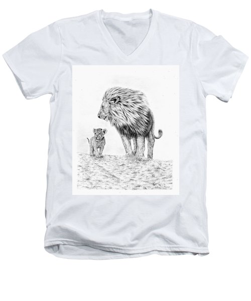 Lion And Cub Men's V-Neck T-Shirt