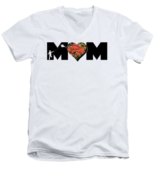 Little Boy Silhouette In Mom Big Letter With Cluster Of Red Roses In Heart Men's V-Neck T-Shirt
