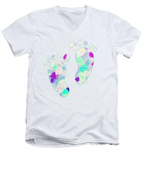Little Feet Prints For Kids In Pinks And Blues Men's V-Neck T-Shirt