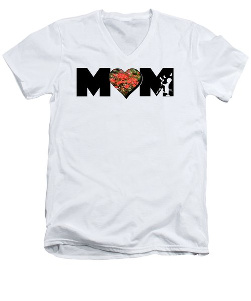 Little Girl Silhouette In Mom Big Letter With Cluster Of Red Roses In Heart Men's V-Neck T-Shirt