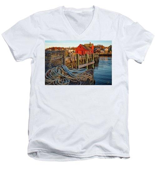 Lobster Traps And Line At Motif #1 Men's V-Neck T-Shirt