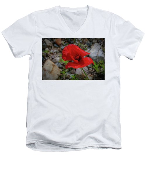 Lone Red Flower Men's V-Neck T-Shirt