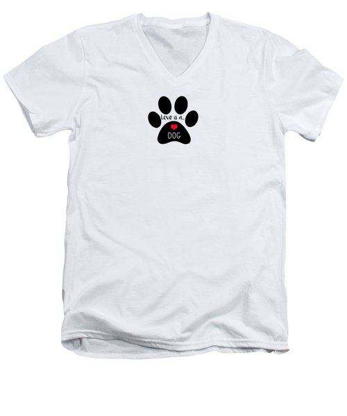 Love Is A Dog Paw Print  Men's V-Neck T-Shirt