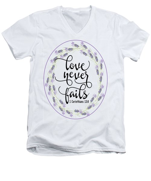 Love Never Fails' Men's V-Neck T-Shirt