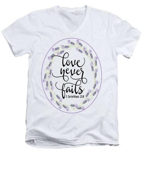Love Never Fails' Men's V-Neck T-Shirt