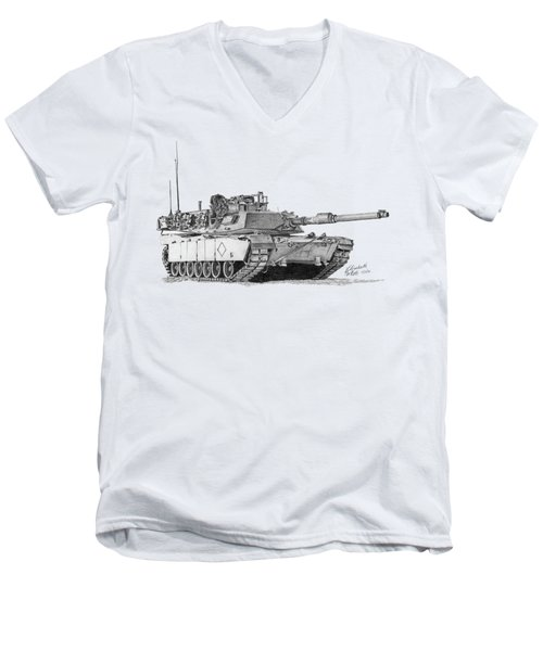 M1a1 Battalion Commander Tank Men's V-Neck T-Shirt