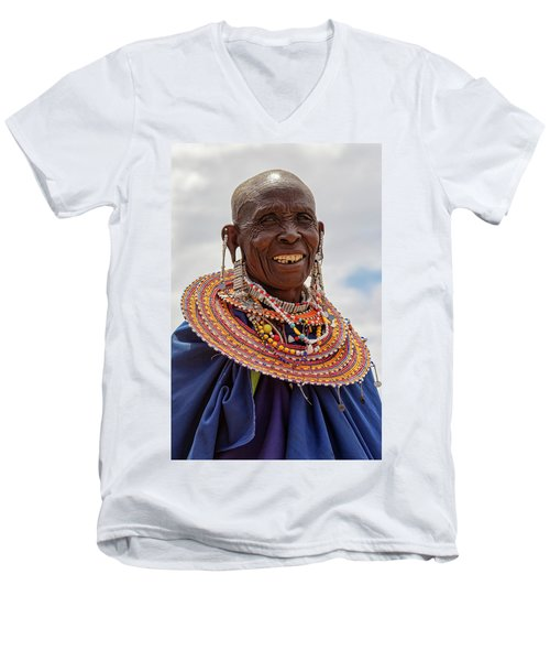 Maasai Woman In Tanzania Men's V-Neck T-Shirt