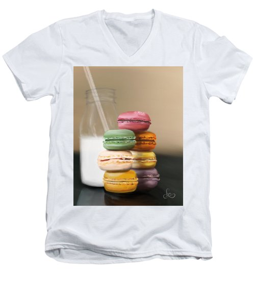 Men's V-Neck T-Shirt featuring the pastel Macaroons  by Fe Jones