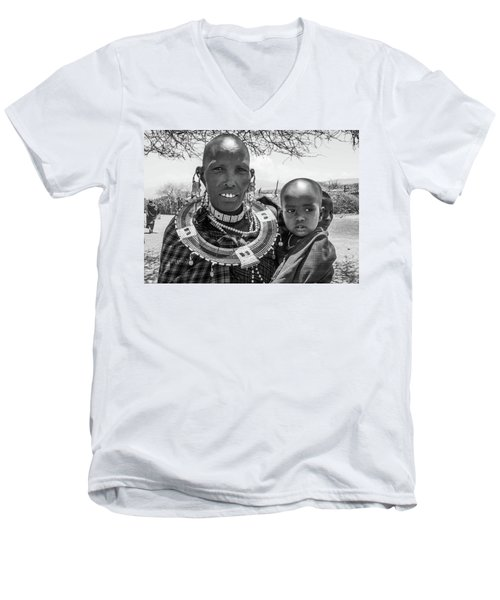 Masaai Mother And Child Men's V-Neck T-Shirt