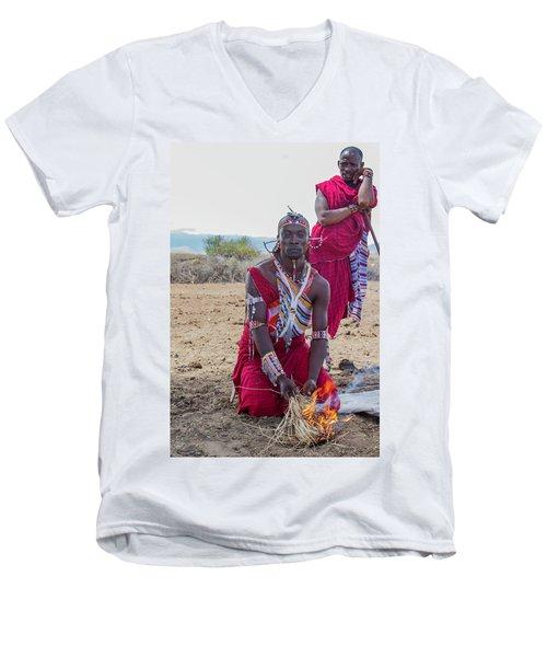 Maasai Warrior Men's V-Neck T-Shirt
