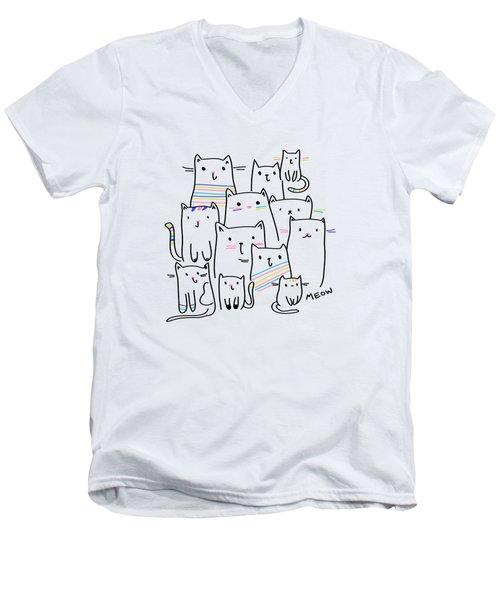 Meow Kitties - Baby Room Nursery Art Poster Print Men's V-Neck T-Shirt