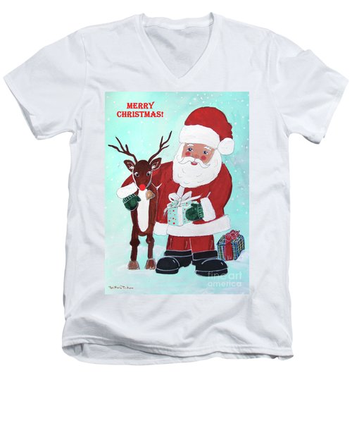 Men's V-Neck T-Shirt featuring the painting Merry Christmas Santa Reindeer by Robin Maria Pedrero