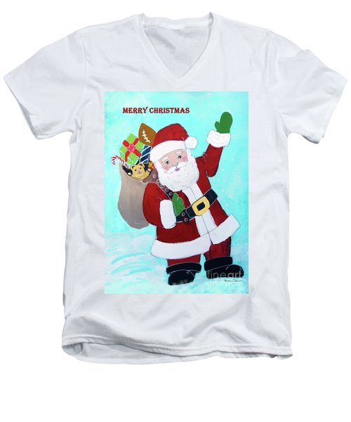 Men's V-Neck T-Shirt featuring the painting Merry Christmas Santa With Toy Sack by Robin Maria Pedrero