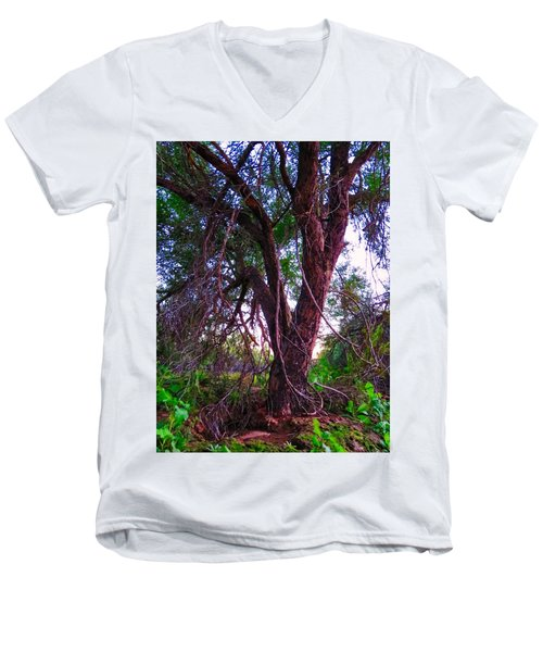 Men's V-Neck T-Shirt featuring the photograph Mesquite By The Wash by Judy Kennedy